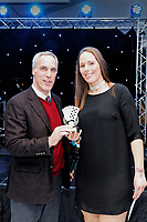Pictured: Chris Pearlman and one of the ladies player<br /> Re: Swansea City FC Christmas party at the Liberty Stadium, Wales, UK. Thursday 14 December 2017