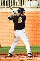 Brannon Champagne #6 of the Missouri Tigers at bat against the Charlotte 49ers at Robert and Mariam Hayes Stadium on February 25, 2011 in Charlotte, North Carolina.  Photo by Brian Westerholt / Four Seam Images