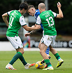 St Johnstone v Hibs……23.08.20   McDiarmid Park  SPFL<br />Callum Hendry is cosded out by Joe Newell and Alex Gogic<br />Picture by Graeme Hart.<br />Copyright Perthshire Picture Agency<br />Tel: 01738 623350  Mobile: 07990 594431