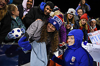 COLUMBUS, OH - NOVEMBER 07: Rose Lavelle #16 of the USA and supporters of the United States gather for a photograph during a game between Sweden and USWNT at MAPFRE Stadium on November 07, 2019 in Columbus, Ohio.