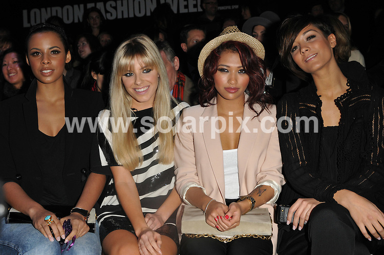 **ALL ROUND PICTURES FROM SOLARPIX.COM**.**WORLDWIDE SYNDICATION RIGHTS**.Front row celebs at the Jaeger show at LFW Autumn/Winter 2010, Somerset House, London. London Fashion Week. London, UK. 22 February 2010 ..This pic: The Saturdays..JOB REF: 10773 BTT      DATE: 22_02_2010.**MUST CREDIT SOLARPIX.COM OR DOUBLE FEE WILL BE CHARGED**.**MUST NOTIFY SOLARPIX OF ONLINE USAGE**.**CALL US ON: +34 952 811 768 or LOW RATE FROM UK 0844 617 7637**