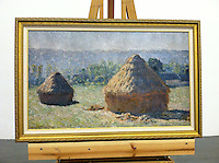 """Monet Haystacks Framed Dimensions 29 1/2 """" x 45 1/2 x 1 1/2 """", Monet, Claude (1840-1926) The Haystacks: End of Summer. Giverny. 1891."""
