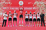 Tadej Pogacar (SLO) UAE Team Emirates takes the overall victory at the end of Stage 7 of the 2021 UAE Tour running 165km from Yas Island to Abu Dhabi Breakwater, Abu Dhabi, UAE. 27th February 2021.<br /> Picture: LaPresse/Gian Mattia D'Alberto   Cyclefile<br /> <br /> All photos usage must carry mandatory copyright credit (© Cyclefile   LaPresse/Gian Mattia D'Alberto)