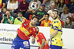 Spain's Iosu Goni (l) and Bosnia Herzegovina's Senjamin Buric during 2018 Men's European Championship Qualification 2 match. November 2,2016. (ALTERPHOTOS/Acero)
