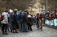 Belgian Champion Oliver Naesen (BEL/AG2R-La Mondiale) cheered by the fans leading the front group up the Bosberg.  <br /> <br /> <br /> 73th Omloop Het Nieuwsblad 2018<br /> Gent-Meerbeke (BEL) - 196km