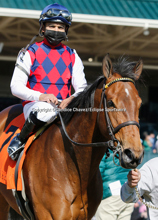 April 02, 2021 : #7  Twenty Carat and jockey Luis Saez win the 36th running of The Beaumont Presented by Keeneland Select Grade 3 $150,000 for owner Three Chimneys Farm and trainer Wesley Ward  at Keeneland Racecourse in Lexington, KY on April 02, 2021.  Candice Chavez/ESW/CSM