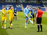 13th March 2021; Global Energy Stadium, Dingwall, Highland, Scotland; Scottish Premiership Football, Ross County versus Hibernian; Ross Laidlaw of Ross County complains to Referee John Beaton about the challenge from Martin Boyle of Hibernian on Leo Fuhr Hjelde of Ross County