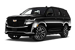 Stock pictures of low aggressive front three quarter view of 2021 Cadillac Escalade Sport 5 Door SUV Low Aggressive