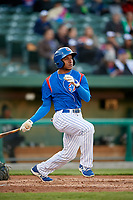 South Bend Cubs center fielder Luis Ayala (30) follows through on a swing during a game against the Clinton LumberKings on May 5, 2017 at Four Winds Field in South Bend, Indiana.  South Bend defeated Clinton 7-6 in nineteen innings.  (Mike Janes/Four Seam Images)