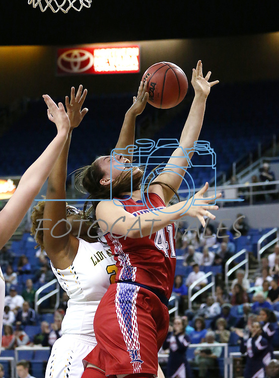 Liberty's Nancy Caballero gets fouled by Manogue's La-Torae Nixon during the NIAA Division I state basketball tournament in Reno, Nev. on Thursday, Feb. 25, 2016. Liberty won 59-53. Cathleen Allison/Las Vegas Review-Journal