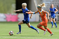 Houston, TX - Saturday May 27, 2017: Megan Rapinoe races towards the goal with Rachel Daly (3) of the Houston Dash in pursuit during a regular season National Women's Soccer League (NWSL) match between the Houston Dash and the Seattle Reign FC at BBVA Compass Stadium.