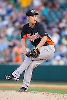 Norfolk Tides starting pitcher Suk-min Yoon (55) in action against the Charlotte Knights at BB&T Ballpark on May 21, 2014 in Charlotte, North Carolina.  The Tides defeated the Knights 10-3.  (Brian Westerholt/Four Seam Images)