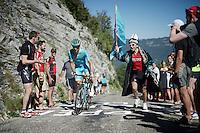 Kazach support up the Lacets du Grand Colombier (Cat1/891m/8.4km/7.6%)<br /> <br /> stage 15: Bourg-en-Bresse to Culoz (160km)<br /> 103rd Tour de France 2016