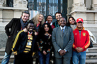 Italy. Lombardy region. Milan. Stop TB Partnership. A group of national ambassadors against tuberculosis (WHO) stand in front of the Istituto Villa Marelli, which is specialised with TB issues. Left to right on first row: Obour, Ghana, Pop singer. Rania Ismail, Jordan, actress. Awad Ibrahim Awad, Sudan (North),TV presenter. Deepak Raj Giri, Nepal, TV movie actor. Second row: Zaal Chikobava, Georgia, theatre director. Sonia Goldemberg, Peru, Journalist. Gerry Elsdon, South Africa, TV presenter. Behrooz Sabzwari, Pakistan, TV movie actor. Deespasri Niraula, Nepal, TV movie actress. 6.12.2011 © WHO /Didier Ruef