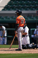Baltimore Orioles Jaylen Ferguson (92) bats during a Minor League Spring Training game against the Detroit Tigers on April 14, 2021 at Joker Marchant Stadium in Lakeland, Florida.  (Mike Janes/Four Seam Images)