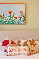 floral cushions close up