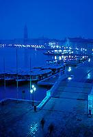View down Riva degli Schiavoni and Venice's lagoon, Italy<br />