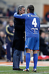Real Madrid's coach Jose Mourinho and Sergio Ramos embrace and joke during UNICEF match. December, 29 2010. (ALTERPHOTOS/Alvaro Hernandez)