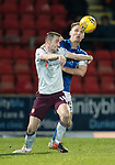 St Johnstone v Hearts…30.10.19   McDiarmid Park   SPFL<br />Steven MacLean battles with Jason Kerr<br />Picture by Graeme Hart.<br />Copyright Perthshire Picture Agency<br />Tel: 01738 623350  Mobile: 07990 594431