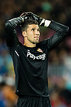Goalkeeper David Soria Solis of Sevilla FC reacts during the La Liga 2017-18 match between FC Barcelona and Sevilla FC at Camp Nou on November 04 2017 in Barcelona, Spain. Photo by Vicens Gimenez / Power Sport Images