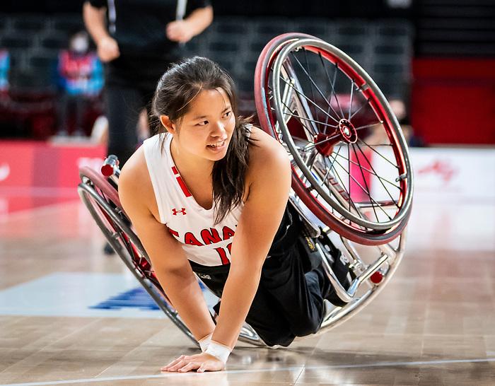 Puisand Lai, Tokyo 2020 - Wheelchair Basketball // Basketball en fauteuil roulant.<br /> Canada takes on the USA in the wheelchair basketball quarterfinal // Le Canada affronte les États-Unis en quart de finale de basketball en fauteuil roulant. 31/08/2021.