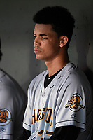 Starting pitcher Freicer Perez (37) of the Charleston RiverDogs in the dugout between innings of a game against the Greenville Drive on Thursday, July 27, 2017, at Fluor Field at the West End in Greenville, South Carolina. Charleston won, 5-2. (Tom Priddy/Four Seam Images)