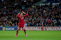 Wednesday 4th  December 2013 Pictured: Gareth Bale of Wales  looks on as his free kick narrowly misses it's target <br /> Re: UEFA European Championship Wales v Cyprus at the Cardiff City Stadium, Cardiff, Wales, UK