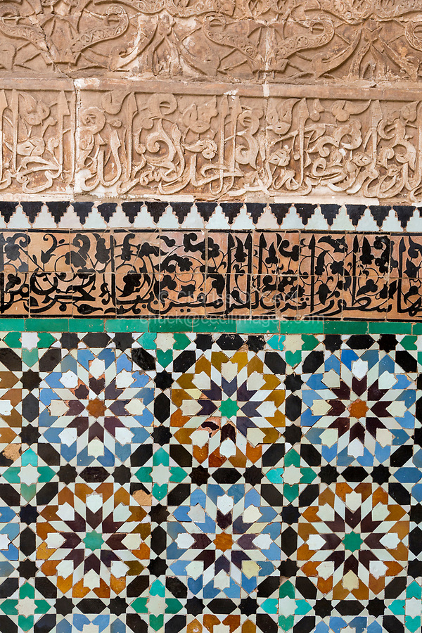 Marrakesh, Morocco.  Tile  and Stucco Decoration, Medersa Ben Youssef, 16th. Century.