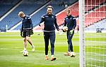 St Mirren v St Johnstone…09.05.21  Scottish Cup Semi-Final Hampden Park <br />Zander Clark warms up with Zedenek Zlamal and Jack Wills<br />Picture by Graeme Hart.<br />Copyright Perthshire Picture Agency<br />Tel: 01738 623350  Mobile: 07990 594431