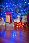 Blue Lights on a Christmas tree with wrapped gifts