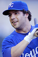 Shane Costa of the Kansas City Royals during batting practice before a game against the Los Angeles Angels in a 2007 MLB season game at Angel Stadium in Anaheim, California. (Larry Goren/Four Seam Images)