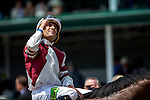 MAY 2, 2015: Rafael M. Hernandez, aboard Divisidero, celebrates after winning the 24th running of The American Turf at Churchill Downs in Louisville, Kentucky. Jon Durr/ESW/CSM