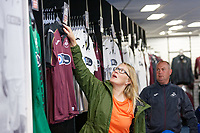 Pictured: Fans buy the new kit. Friday 24 August 2018<br /> Re: Swansea City FC third kit launch at the club shop, Liberty Stadium, Swansea, Wales, UK.