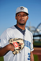 Lake County Captains pitcher Juan Hillman (35) poses for a photo before a game against the Quad Cities River Bandits on May 6, 2017 at Modern Woodmen Park in Davenport, Iowa.  Lake County defeated Quad Cities 13-3.  (Mike Janes/Four Seam Images)