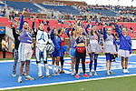 Southern Methodist Mustangs fans watch the action during the game between the Rutgers Scarlet Knights and the SMU Mustangs at the Gerald J. Ford Stadium in Fort Worth, Texas. Rutgers defeats SMU 55 to 52 in triple OT.