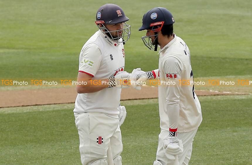 Nick Browne (left) and Sir Alastair Cook of Essex touch gloves between overs during Essex CCC vs Worcestershire CCC, LV Insurance County Championship Group 1 Cricket at The Cloudfm County Ground on 8th April 2021