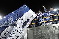 BOGOTA - COLOMBIA - 19-02-2013: Hinchas de Millonarios animan a su equipo durante  partido Millonarios de Colombia y Tijuana de México, en el estadio Nemesio Camacho El Campín de la ciudad de Bogotá, partido por el grupo 5 de la Copa Libertadores 2013, febrero 19 de 2013.  (Foto: VizzorImage / Luis Ramírez / Staff).  Fans Of Millonarios cheer for their team during game between Millonarios of Colombia and Tijuana of Mexico at the Nemesio Camacho El Campin Stadium in Bogota, match for the group group 5 of the Libertadores Cup 2013, February 19, 2013. (Photo: VizzorImage / Luis Ramirez / Staff)..