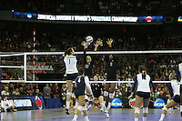Omaha, NE - DECEMBER 20:  Outside hitter Erin Waller #12 and middle blocker Janet Okogbaa #2 of the Stanford Cardinal during Stanford's 20-25, 24-26, 23-25 loss against the Penn State Nittany Lions in the 2008 NCAA Division I Women's Volleyball Final Four Championship match on December 20, 2008 at the Qwest Center in Omaha, Nebraska.
