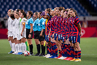 SAITAMA, JAPAN - JULY 24: The USWNT lines up for introductions before a game between New Zealand and USWNT at Saitama Stadium on July 24, 2021 in Saitama, Japan.