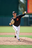 GCL Orioles relief pitcher Yelin Rodriguez (37) delivers a pitch during the first game of a doubleheader against the GCL Twins on August 1, 2018 at CenturyLink Sports Complex Fields in Fort Myers, Florida.  GCL Twins defeated GCL Orioles 7-6 in the completion of a suspended game originally started on July 31st, 2018.  (Mike Janes/Four Seam Images)