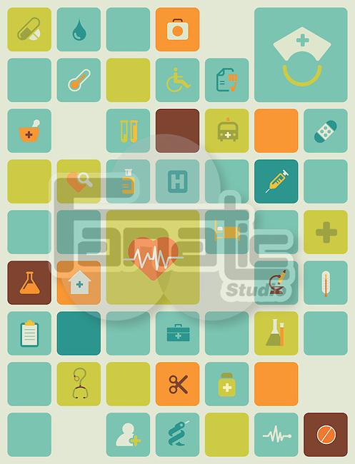 Illustration of hospital icons over white background
