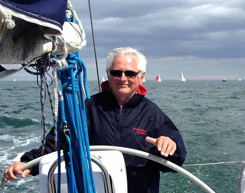 DBSC Honorary Secretary Chris Moore on his J/109 Powder Monkey. In addition to his current role, he has served as Commodore of DBSC, and also as Commodore of the National YC.
