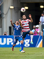 Landon Donovan, Rodolfo Zelaya.  The United States defeated El Salvador, 5-1, during the quarterfinals of the CONCACAF Gold Cup at M&T Bank Stadium in Baltimore, MD.