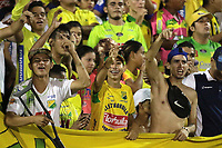 NEIVA- COLOMBIA, 14-10-2019:Hinchas del Atlético Huila.Acción de juego entre los equipos Atlético Huila y Atlético Bucaramangadurante partido por la fecha 17 de la Liga Águila II 2019 jugado en el estadio Guillermo Plazas Alcid de la ciudad de Neiva. /Fans of Atletico Huila.Action game between teams  Atletico Huila and Atletico Bucaramanga during the match for the date 17 of the Liga Aguila II 2019 played at the Guillermo Plazas Alcid Stadium in Neiva  city. Photo: VizzorImage / Sergio Reyes / Contribuidor.