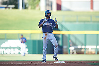AZL Padres 1 CJ Abrams (8) stands on second base after hitting a double during an Arizona League game against the AZL Cubs 1 on July 5, 2019 at Sloan Park in Mesa, Arizona. The AZL Cubs 1 defeated the AZL Padres 1 9-3. (Zachary Lucy/Four Seam Images)
