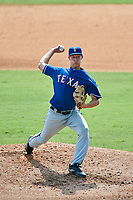 Pitcher Robbie Peto (21) of Monroe Township High School in Monroe Township, New Jersey playing for the Texas Rangers scout team during the East Coast Pro Showcase on July 30, 2015 at George M. Steinbrenner Field in Tampa, Florida.  (Mike Janes/Four Seam Images)