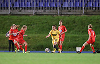 Woluwe's Jana Simons (L), Standard's Davinia Vanmechelen (M)  and Woluwe's Selina Gijsbrechts (11) (R) in action during a female soccer game between FC Femina WS Woluwe and Standard Femina de Liege on the fourth match day of the 2020 - 2021 season of Belgian Womens Super League , Friday 8th of October 2020  in Liege , Belgium . PHOTO SPORTPIX.BE   SPP   SEVIL OKTEM