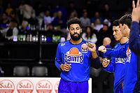 Dion Prewster of the Wellington Saints enters the court during player introductions prior to the round two NBL match between the Wellington Saints and the Southland Sharks at TSB Bank Arena, Wellington, New Zealand on Friday 7 May 2021.<br /> Photo by Masanori Udagawa. <br /> www.photowellington.photoshelter.com
