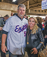 29 March 2014: Former Montreal Expos pitcher Joey Eischen poses with his wife Nicole prior to a pre-season exhibition game between the Toronto Blue Jays and the New York Mets  at Olympic Stadium in Montreal, Quebec. Members of the 1994 Expos were honored in a pre-game ceremony where 50, 229 fans watched the Blue Jays shut out the Mets 2-0 in the first MLB professional baseball series since September of 2004. Mandatory Credit: Ed Wolfstein Photo *** RAW (NEF) Image File Available ***
