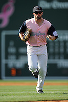 Left fielder Bo Greenwell (31) of the Greenville Drive in a game against the West Virginia Power on Sunday, May 11, 2014, at Fluor Field at the West End in Greenville, South Carolina. Greenville won, 9-6. (Tom Priddy/Four Seam Images)